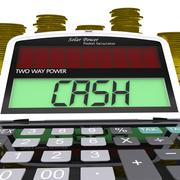 Cash calculator means finances savings or loan Stock Illustration