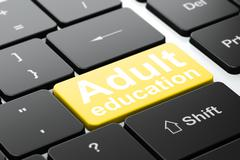 Adult Education on computer keyboard background Stock Illustration