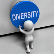 Diversity button means variety difference or multi-cultural Stock Illustration