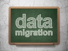 Information concept: Data Migration on chalkboard background Stock Illustration