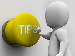 Stock Illustration of tips button shows hints guidance and advice