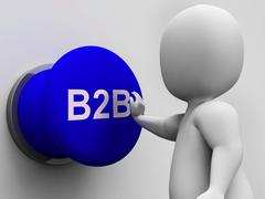 Stock Illustration of b2b button shows corporate partnership and relations