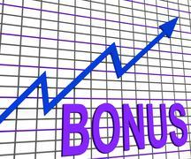Bonus chart graph shows increase reward or perk Stock Illustration