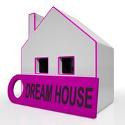 dream house home shows purchase or construct perfect property - stock illustration