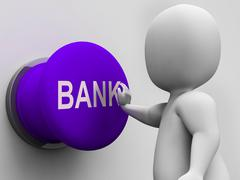 Stock Illustration of bank button means transactions savings and interest