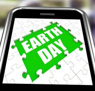 earth day smartphone shows conservation and environmental protection - stock illustration