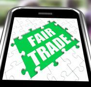 Fair trade smartphone means shop or buy fairtrade Stock Illustration