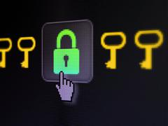 Safety concept: Padlock And Key on digital computer screen - stock illustration