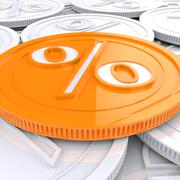 percentage coin shows interest  earn or owed - stock illustration