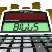 Bills calculator shows accounts payable and due Stock Illustration