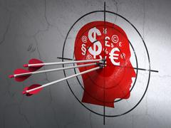 Education concept: arrows in Head With Finance Symbol target on wall background Stock Illustration