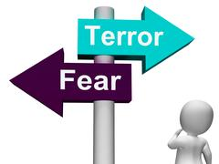 Terror fear signpost shows anxious panic and fears Stock Illustration