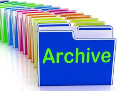 Archive folders show documents data and backup Stock Illustration