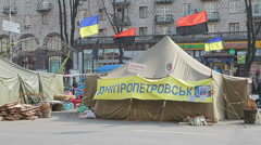 Euromaidan revolution, tents in the center of Kiev Stock Footage