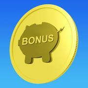 Bonus  coin means monetary reward or benefit Stock Illustration