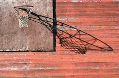 Rural basketball backboard and hoop outdoor Stock Photos
