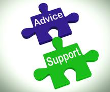 Advice support puzzle means help assistance and faq Stock Illustration