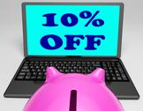 Stock Illustration of ten percent off laptop shows 10 savings on web