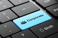 Stock Illustration of Finance concept: Business People and Corporate on computer keyboard background