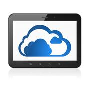 Networking concept: Cloud on tablet pc computer Stock Illustration