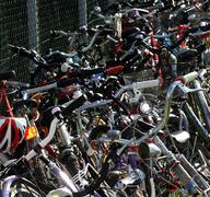 Wheels, tires, handlebars, bike pedals Stock Photos