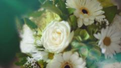 Beautiful spring bouquet of white flowers Stock Footage