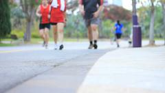 Active People Jogging Outdoors for Sports and Fitness Stock Footage