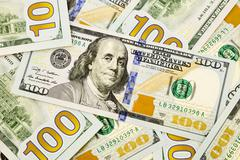 New edition 100 dollar banknotes, currency for inflation and economic concept Stock Photos