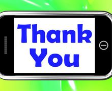 Thank you on phone shows gratitude texts and appreciation Stock Illustration