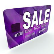 Sale on credit debit card shows offer bargain promotion Stock Illustration