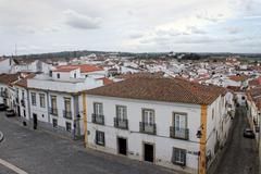 Colorful houses of Evora, Portugal - stock photo