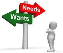 Wants needs signpost shows materialism want need Stock Illustration