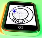 Stock Illustration of quality smartphone means excellent goods and customer satisfaction