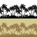 Stock Illustration of Palms and flowers silhouettes, set seamless