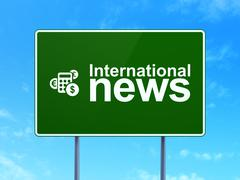 International News and Calculator on road sign background Stock Illustration