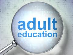 Adult Education with optical glass - stock illustration