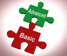Advanced basic puzzle means programme features and costs Stock Illustration