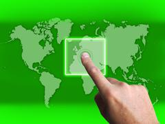 Hand touch touchscreen on world map shows internet www Stock Illustration