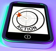 Stock Illustration of action smartphone shows acting to reach goals