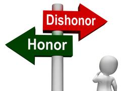 dishonor honor signpost shows integrity and morals - stock illustration