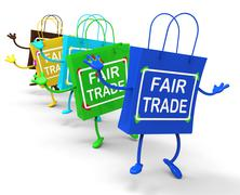 Fair trade bags show equal deals and exchange Stock Illustration