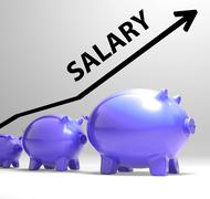salary arrow shows pay rise for workers - stock illustration