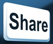 Stock Illustration of share button shows sharing webpage or picture online