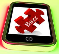 Buzz smartphone means creating publicity and awareness Stock Illustration