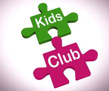 Kids club puzzle shows play and fun for children Piirros