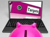 Stock Illustration of targets laptop means aims objectives and goal setting