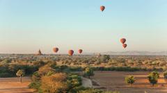 Air Ballons Bagan Temples Stock Footage