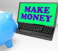 make money laptop means accumulating wealth and prosperity - stock illustration