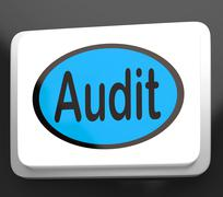 audit button shows auditor validation or inspection - stock illustration