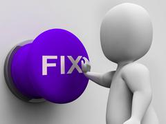 Fix button shows repairing faults and maintenance Stock Illustration